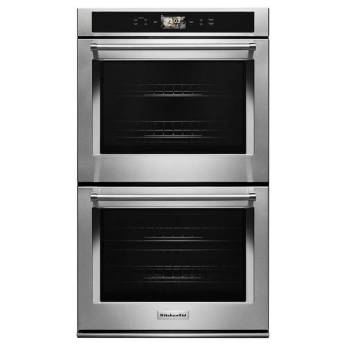 """KitchenAid - Smart Oven+ 30"""" Double Oven with Powered Attachments Stainless Steel"""