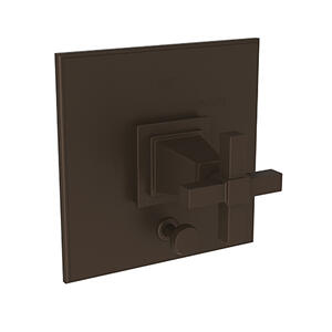 Weathered Copper - Living Balanced Pressure Tub & Shower Diverter Plate with Handle