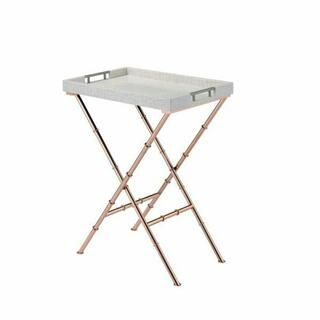 ACME Lajos Tray Table - 98276 - Ivory & Rose Gold