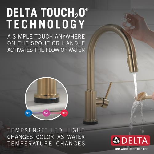 Champagne Bronze Single Handle Pull-Down Kitchen Faucet with Touch 2 O ® Technology