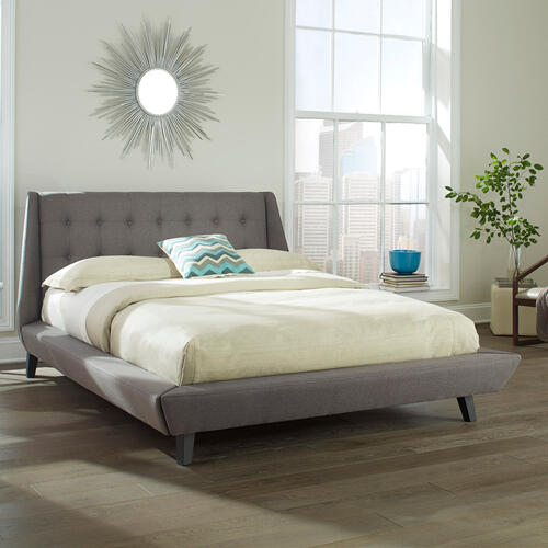 Prelude Complete Upholstered Platform Bed and Bedding Support System with Button-Tuft Headboard, Ash Finish, Queen