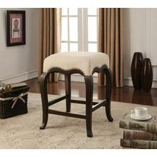 "ACME Kakabel Counter Height Stool (1Pc) - 96614 - Cream Fabric & Espresso - 24"" Seat Height"