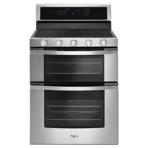 Whirlpool - 6.0 Cu. Ft. Gas Double Oven Range with EZ-2-Lift™ Hinged Grates