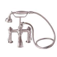Tub Rim-Mounted Filler with Hand-Held Shower - Lever Handles / Brushed Nickel