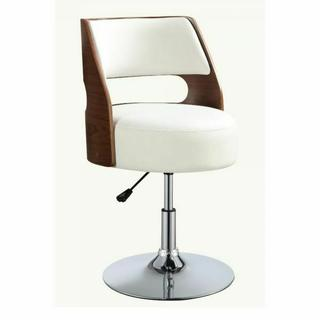 "ACME Camila Adjustable Stool w/Swivel (1Pc) - 92421 - White PU & Walnut - 19""-23"" Seat Height"