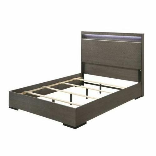 ACME Escher Queen Bed - 27650Q - Contemporary - LED, Melamine Veneer, MDF, PB - LED and Gray Oak