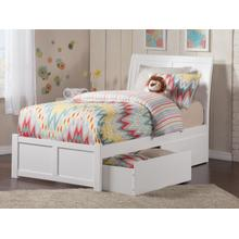 Portland Twin XL Flat Panel Foot Board with 2 Urban Bed Drawers White