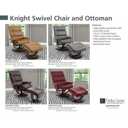 KNIGHT - ICE Manual Reclining Swivel Chair and Ottoman