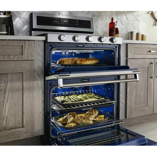 KitchenAid - 30-Inch 5 Burner Dual Fuel Double Oven Convection Range - Stainless Steel