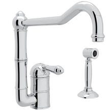 Acqui Single Hole Column Spout Kitchen Faucet with Sidespray and Extended Spout - Polished Chrome with Metal Lever Handle