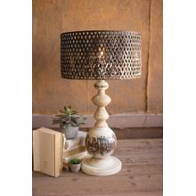 See Details - table lamp with round metal base and perforated metal shade