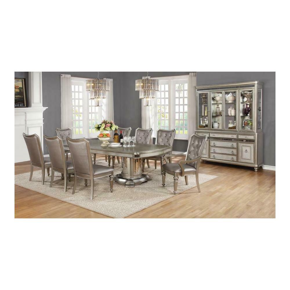 See Details - Danette Metallic Seven-piece Double Pedestal Dining Set