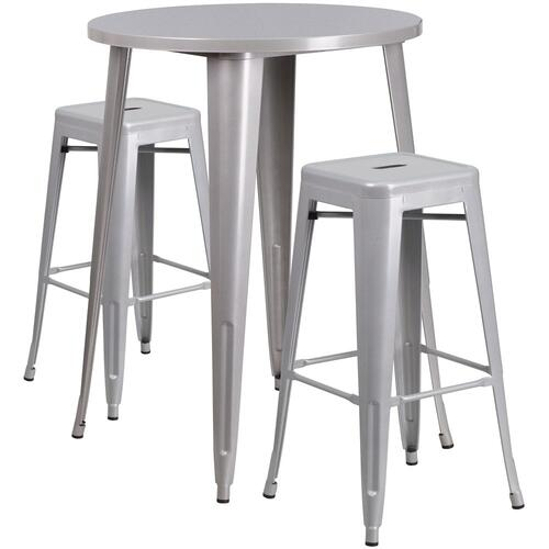 30'' Round Silver Metal Indoor-Outdoor Bar Table Set with 2 Square Seat Backless Stools