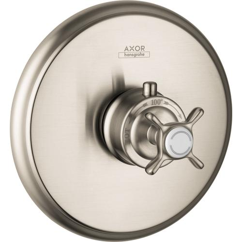 Brushed Nickel Thermostatic Trim HighFlow with Cross Handle