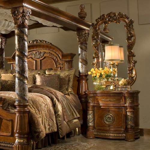 Amini - Bedside Chest W/decorative Mirror (2pc)