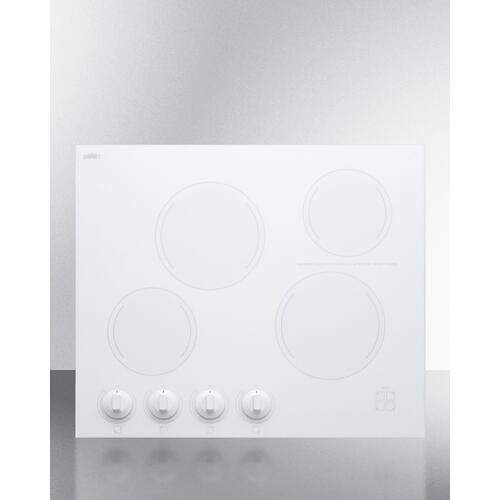 """24"""" Wide 4-burner Radiant Cooktop Made In France With White Ceramic Glass Surface"""