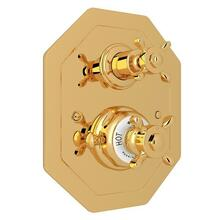 Edwardian Octagonal Concealed Thermostatic Trim with Volume Control - English Gold with Cross Handle