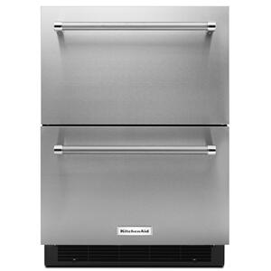 "KitchenAid24"" Stainless Steel Double Refrigerator Drawer Stainless Steel"