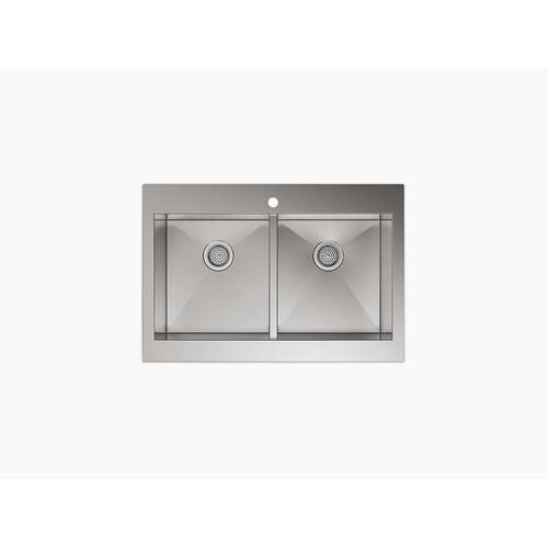 "35-3/4"" X 24-5/16"" X 9-5/16"" Self-trimming Top-mount Double-equal Stainless Steel Apron-front Kitchen Sink for 36"" Cabinet"