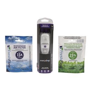 Maytageverydrop® Refrigerator Water Filter 1- EDR1RXD1 (Pack of 1) + Refrigerator FreshFlow Air Filter + FreshFlow Produce Preserver Refill