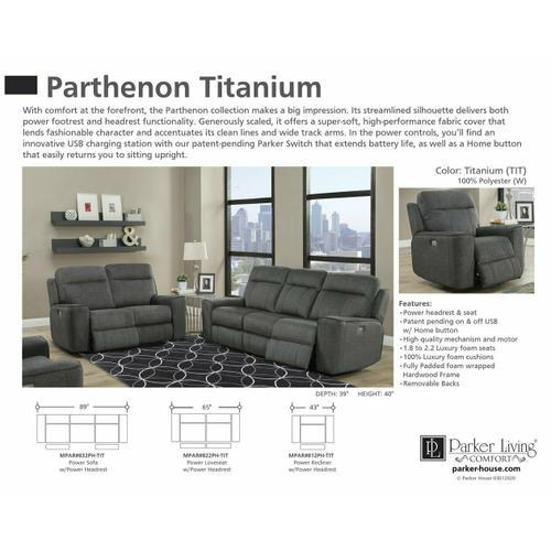 Parker House - PARTHENON - TITANIUM Power Sofa