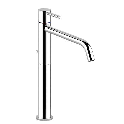 """Gessi - Tall single lever washbasin mixer with pop-up assembly Spout projection 8-5/16"""" Height 11-3/4"""" 1-1/4"""" pop up drain and flex ible hoses with 3/8"""" connections Max flow rate 1"""