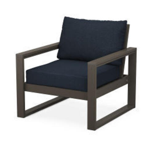 Polywood Furnishings - EDGE Club Chair in Vintage Coffee / Marine Indigo