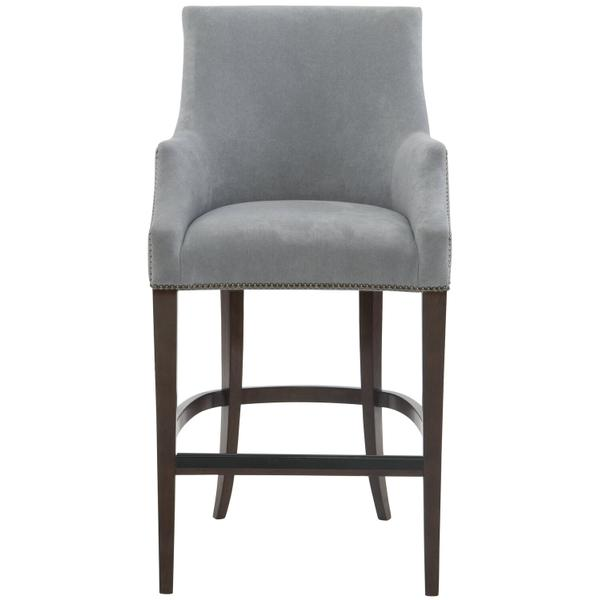 See Details - Keeley Bar Stool in Cocoa Finishes Available Cocoa (CN1) Portobello (PN1) Smoke (SN1) Nailhead Finish Shown #44 Antique Nickel