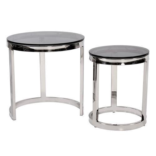Howard Elliott - Round Polished Steel Nesting Tables