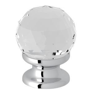 "Polished Chrome Italian Bath Swarovski Crystal 1 3/16"" Pull Knob Product Image"
