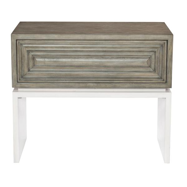 Goodman Nightstand in Rustic Gray, White Plaster