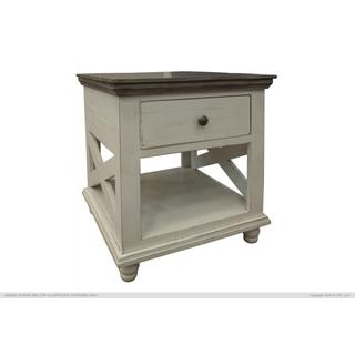 See Details - 1 Drawer, End Table, Ivory finish