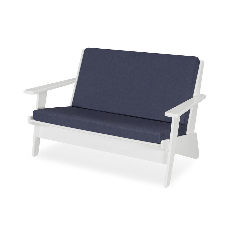 White & Spectrum Indigo Riviera Modern Lounge Settee