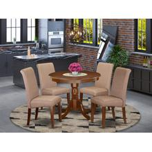 5Pc Small Round table with linen brown fabric Parson chairs with mahogany chair legs