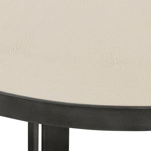 Brushed Gunmetal Finish Shagreen Round Coffee Table