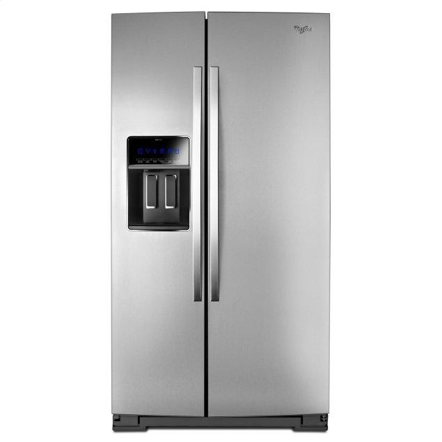 Whirlpool 36-inch Wide Side-by-Side Counter Depth Refrigerator with StoreRight Dual Cooling System - 20 cu. ft. Monochromatic Stainless Steel