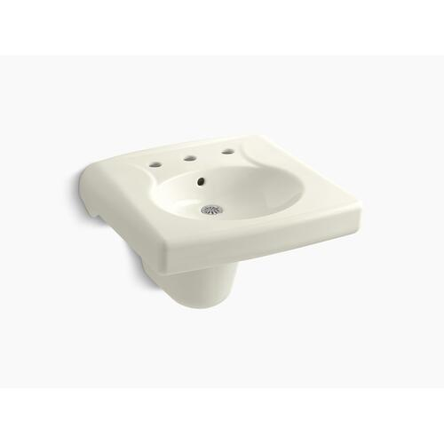 Biscuit Wall-mounted or Concealed Carrier Arm Mounted Commercial Bathroom Sink With Widespread Faucet Holes and Shroud