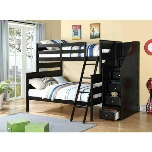 ACME Alvis Twin/Full Bunk Bed w/Storage Ladder - 37365 - Black