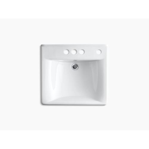 """White 20"""" X 18"""" Wall-mount/concealed Arm Carrier Arm Bathroom Sink With 4"""" Centerset Faucet Holes and Right-hand Soap Dispenser Hole"""