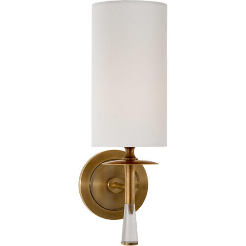 AERIN Drunmore 1 Light 5 inch Hand-Rubbed Antique Brass with Crystal Single Sconce Wall Light