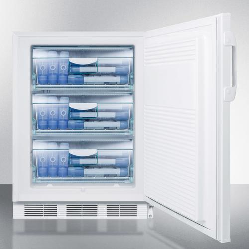 """Summit - ADA Compliant 24"""" Wide All-freezer for Freestanding Use Capable of -25 C Operation; Includes Audible Alarm, Lock, and Hospital Grade Plug"""