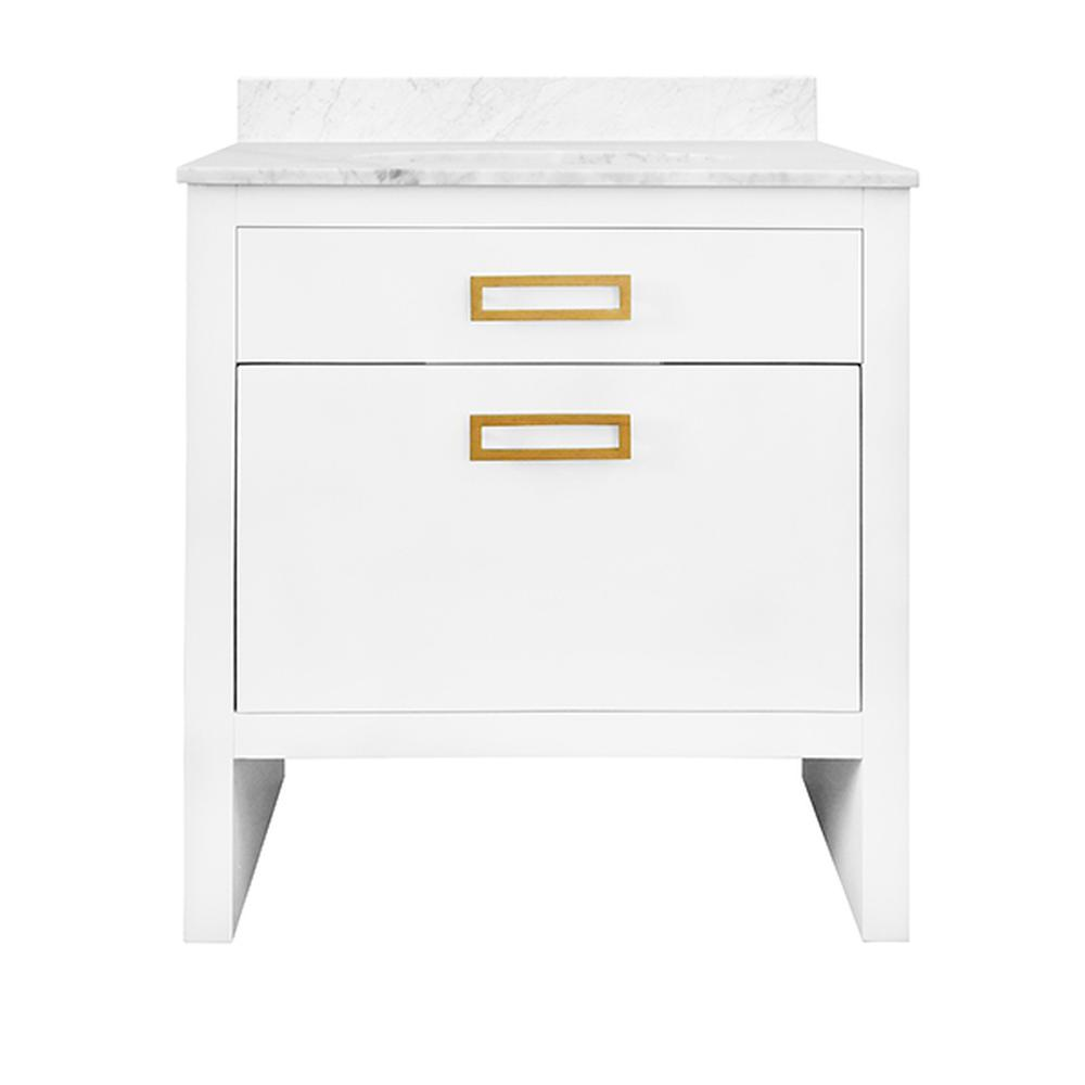 See Details - With Its Clean Lines and Architectural Profile, Our Seth Vanity Brings Understated Luxury To Your Modern Bath. Features Elegant Matte White Lacquer Finish and Oversized Drawer With Linear, Antique Brass Hardware for Generous Storage. the Case Is Crowned With A White Marble Top & Backsplash as Well as A White Porcelain Sink.