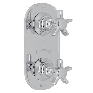 "Polished Chrome San Giovanni Trim For 1/2"" Thermostatic/Diverter Control Rough Valve with Five Spoke Cross Handle Product Image"