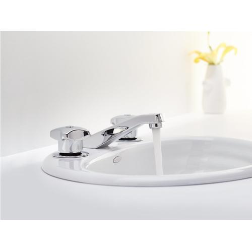 Polished Chrome Widespread Commercial Bathroom Sink Faucet, Drain Not Included and Lift Rod, Requires Handles