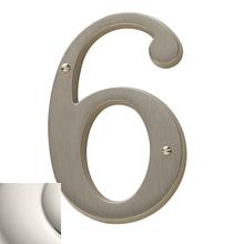Polished Nickel House Number - 6