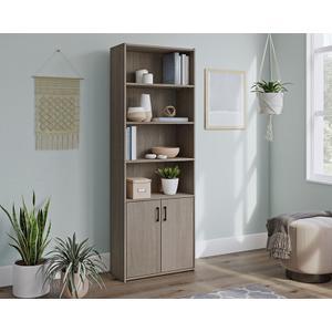 SauderSilver Sycamore 5-Shelf Bookcase with Doors