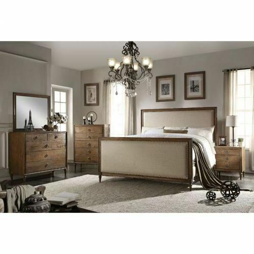 ACME Inverness Eastern King Bed - 26087EK - Beige Linen & Reclaimed Oak