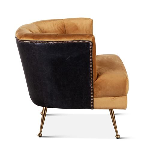 Hampton Armchair in Vintage Gold Velvet and Black Leather