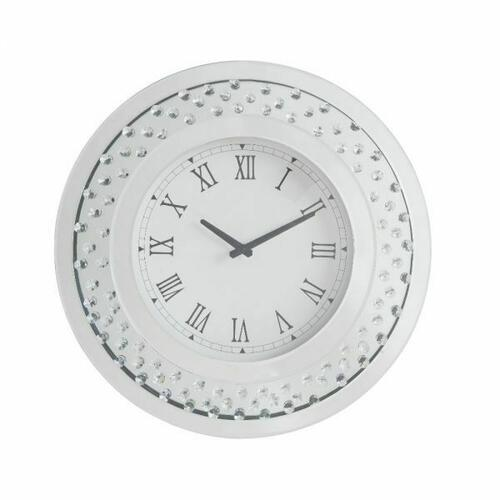 ACME Lantana Wall Clock - 97043 - Mirrored & Faux Crystals