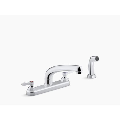 """Polished Chrome 1.5 Gpm Kitchen Sink Faucet With 8-3/16"""" Swing Spout, Matching Finish Sidespray, Aerated Flow and Lever Handles"""